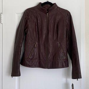 Guess Faux Leather Jacket (Espresso color)